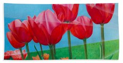 Beach Towel featuring the painting Blue Ray Tulips by Pamela Clements