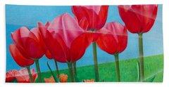 Blue Ray Tulips Beach Sheet