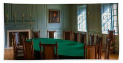 Beach Towel featuring the photograph Blue Room 2 Wren Building by Jerry Gammon