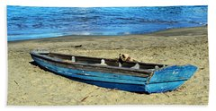 Blue Rowboat Beach Sheet by Holly Blunkall