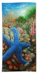 Beach Towel featuring the painting Blue Seastar by Amelie Simmons