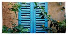 Blue Shuttered Window Beach Towel