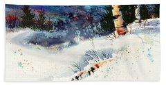 Blue Sky Birch Beach Towel by Teresa Ascone