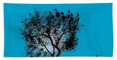 Beach Towel featuring the drawing Blue Sky Moon by D Hackett