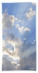 Blue Sky With Sun Rays Beach Towel