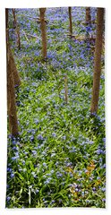Blue Spring Flowers In Forest Beach Towel