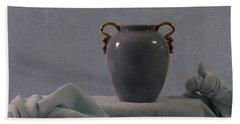 Blue Vase And Damask Beach Sheet