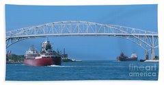 Blue Water Bridge And Freighters Beach Towel