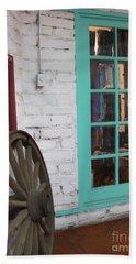Beach Towel featuring the photograph Blue Window And Wagon Wheel by Dora Sofia Caputo Photographic Art and Design