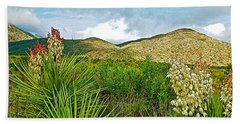 Blue Yucca And Chisos Mountains In Big Bend National Park-texas Beach Sheet