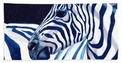 Blue Zebra Beach Towel by Alison Caltrider