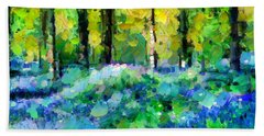 Bluebells In The Forest - Abstract Beach Towel
