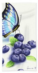 Blueberries And Butterfly Beach Towel