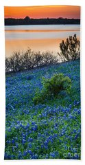 Grapevine Lake Bluebonnets Beach Sheet by Inge Johnsson