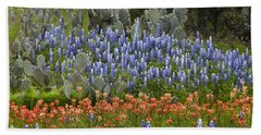 Beach Towel featuring the photograph Bluebonnets Paintbrush And Prickly Pear by Tim Fitzharris