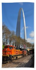 Bnsf Ore Train And St. Louis Gateway Arch Beach Towel