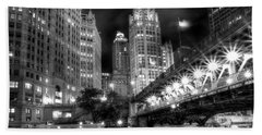 Boat Along The Chicago River Beach Towel