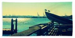 Boat At Alki Beach Beach Towel