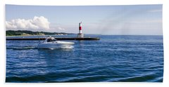 Boat At Holland Pier Beach Towel