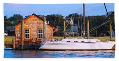 Boat At Shem Creek By Jan Marvin Beach Sheet