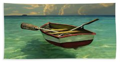 Boat In Clear Water Beach Towel