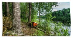Boat In The Forest, Hogland Island Beach Towel