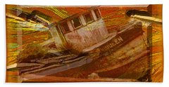 Beach Towel featuring the photograph Boat On Board by Larry Bishop