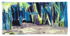 Boat On Shore Line With Trees On Land Beach Towel