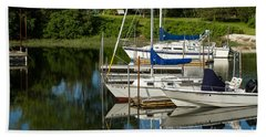 Boat Reflections In Cape Cod Hen Cove Beach Sheet by Eleanor Abramson