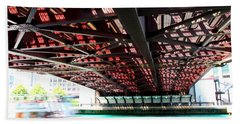 Boat Under Steel Bridge Beach Towel