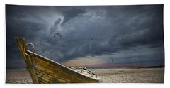 Boat With Gulls On The Beach With Oncoming Storm Beach Towel