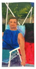 Beach Towel featuring the painting Boating by Donald J Ryker III