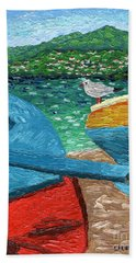 Boats And Bird At Rest Beach Towel by Laura Forde