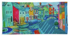 Boats At Burano Beach Towel