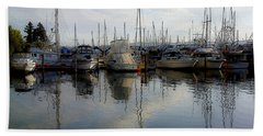Beach Towel featuring the photograph Boats At Marina On Liberty Bay by Greg Reed