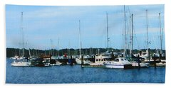 Beach Towel featuring the photograph Boats At Newport Ri by Susan Savad