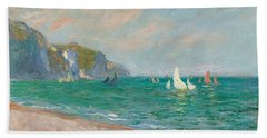 Boats Below The Pourville Cliffs Beach Towel