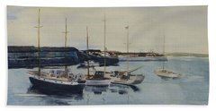 Boats In A Harbour Beach Towel