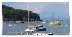 Boats In Bar Harbor Beach Towel