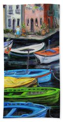 Beach Towel featuring the painting Boats In Front Of The Buildings II by Xueling Zou