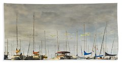 Beach Sheet featuring the photograph Boats In Harbor Reflection by Peter v Quenter