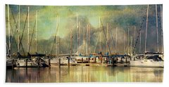 Boats In Harbour Beach Towel