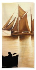 Boats In Sun Light Beach Towel by Janice Dunbar
