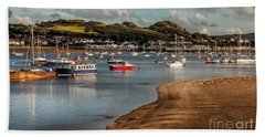Boats In The Harbour Beach Towel