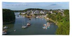 Boats In The Sea, Le Bono, Gulf Of Beach Towel