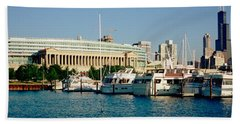Boats Moored At A Dock, Chicago Beach Towel by Panoramic Images