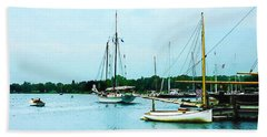 Beach Towel featuring the photograph Boats On A Calm Sea by Susan Savad