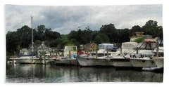 Beach Towel featuring the photograph Boats On A Cloudy Day Essex Ct by Susan Savad
