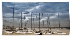 Boats On Beach In Duo-tone Beach Sheet