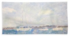 Boats On Lake Michigan In  Chicago Beach Towel